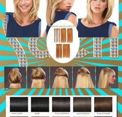 30Cm 70gr 8 Parça 100% Gerçek İnsan Saçı Çıt Çıt Saç